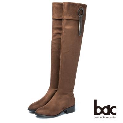 bac時尚美人 纖細修長彈力布長靴-咖啡色