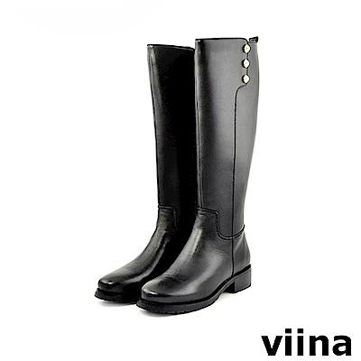 viina 完美比例-優雅側邊珍珠真皮長靴
