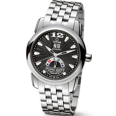 TITONI Master Series 天文台認證機械腕錶-39.2mm/銀色x黑色