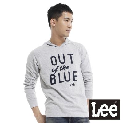 Lee-布文字拼貼連帽長袖T恤-男款-灰