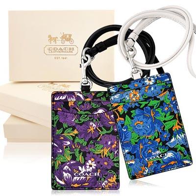COACH 紫色/藍色花朵圖樣PVC識別證件夾