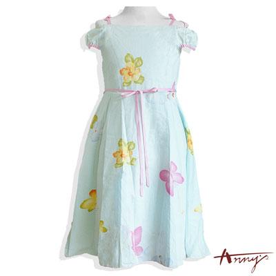 Annys夢幻仙女系花朵一字領洋裝*6129水藍