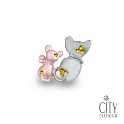City Diamond引雅【東京Yuki系列】日系粉灰雙貓咪領帶/別針/徽章(黃K)