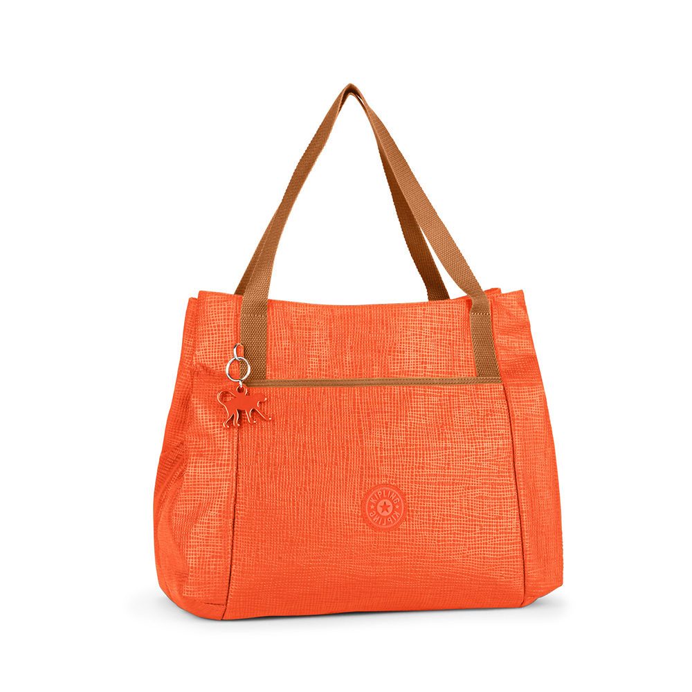 Kipling 橘色紋路素面手提包
