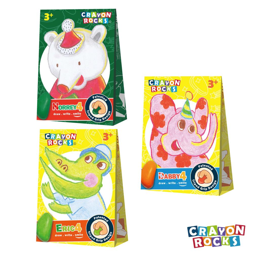美國 Crayon Rocks 酷蠟石 - 3款四色組合 艾瑞克+黛比+諾瑞