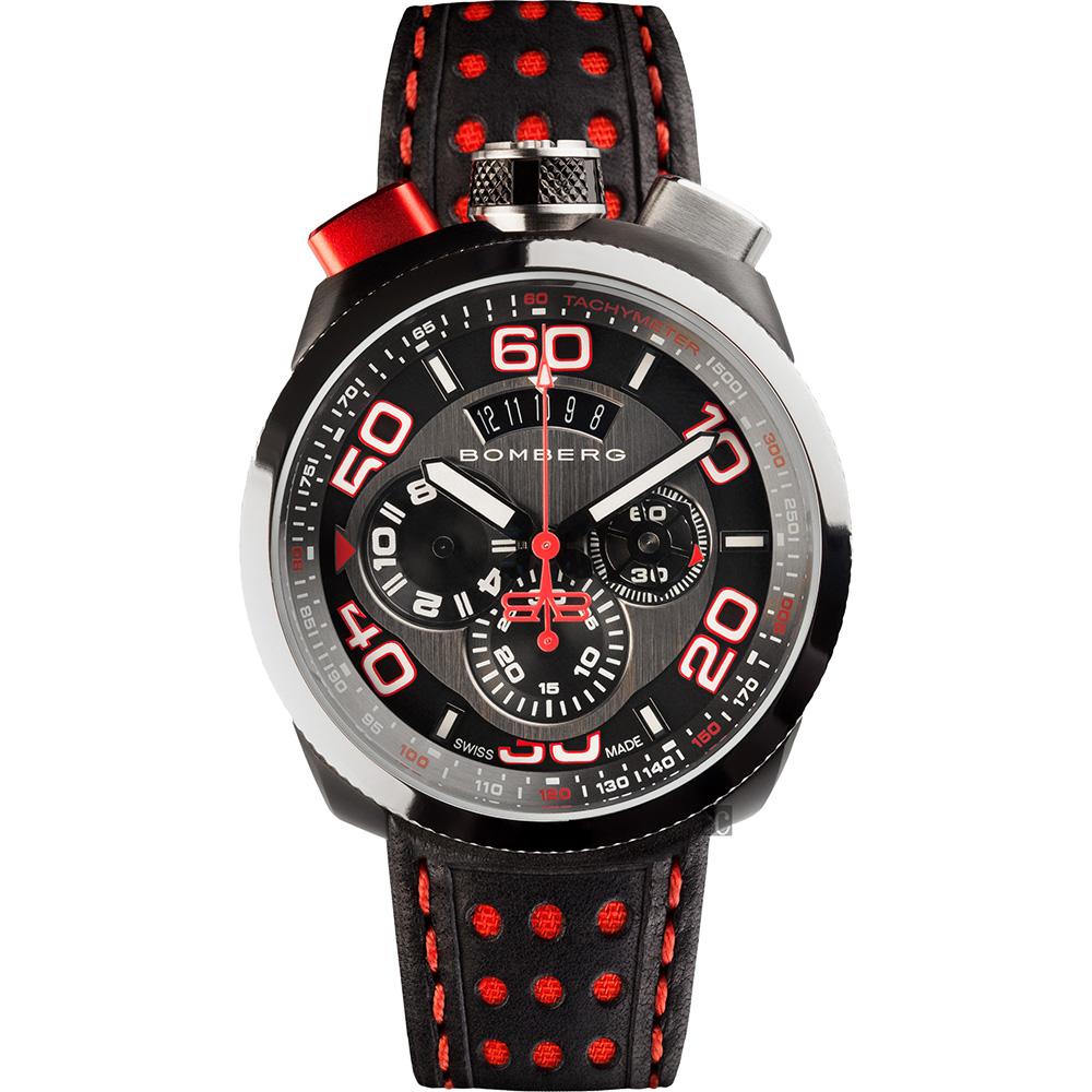 BOMBERG 炸彈錶 BOLT-68 黑紅計時碼錶-45mm