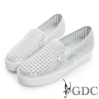 GDC舒適-格紋簍空水鑽厚底真皮懶人休閒鞋-銀色