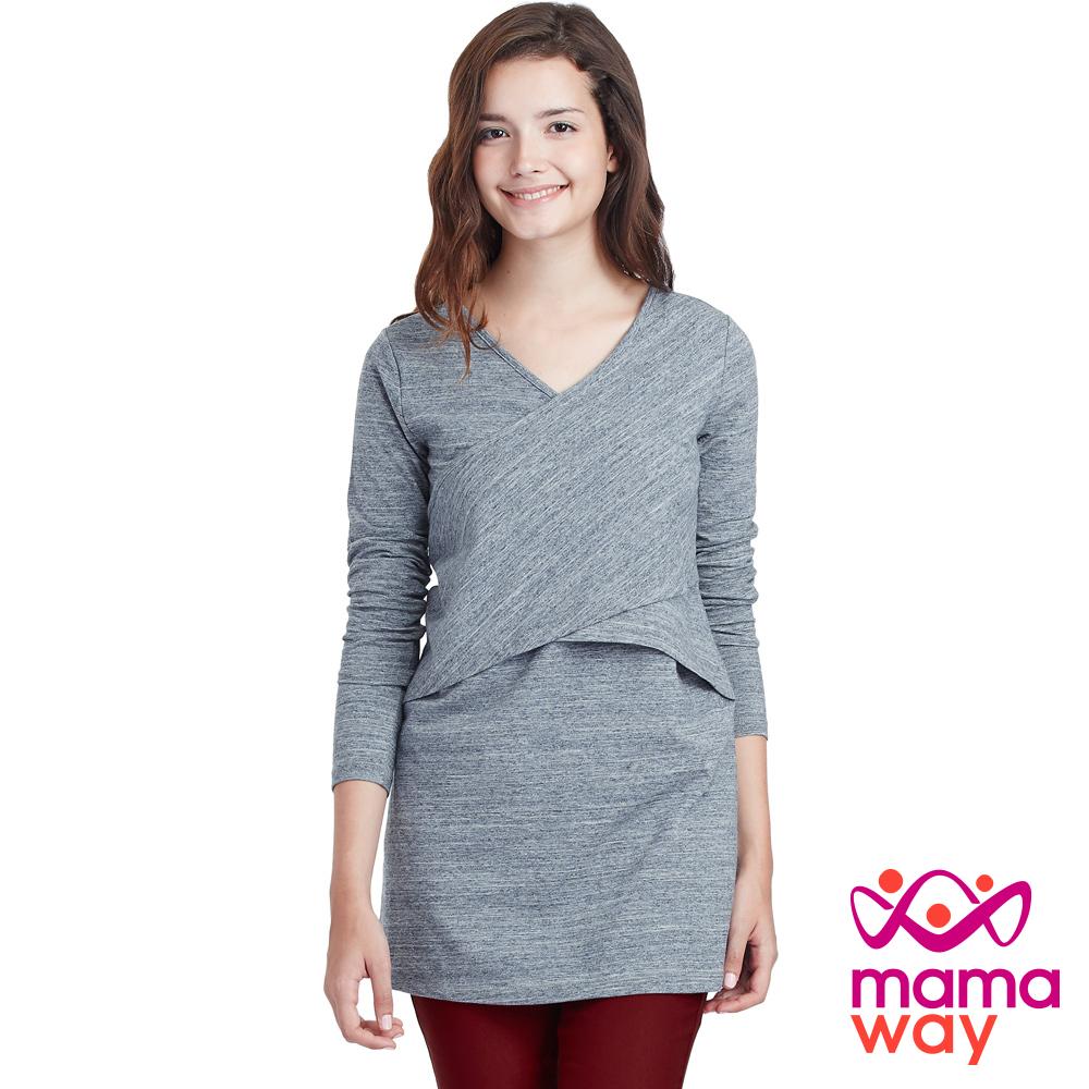 Mamaway 繃帶剪接長版孕婦裝.哺乳衣(共二色)