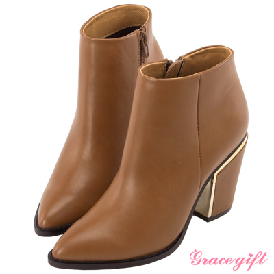 Grace gift X Wei唐葳-簡約個性金屬粗跟短靴 棕