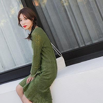 滿版鏤空蕾絲素色長洋裝-OB嚴選