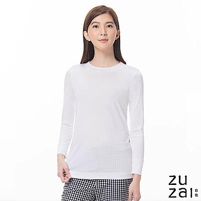 zuzai 自在發熱衣歸真系列女半高領長袖保暖衣-白色