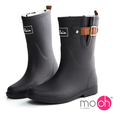 mo.oh愛雨天-撞色皮紋皮帶扣中筒雨靴-黑棕色