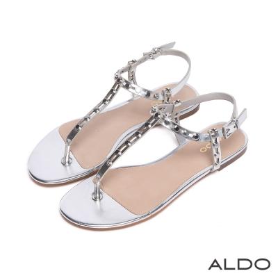 ALDO 原色鉚釘金屬釦T字繫帶涼鞋~璀璨銀色
