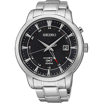 SEIKO Kinetic 雙時區簡約時尚腕錶(SUN033P1)-黑/44mm