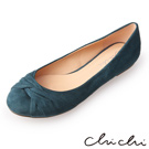 Chichi 甜美風格 圓頭扭結絨布平底鞋*綠色