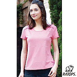 【瑞多仕-RATOPS】女 COOLMAX U領短袖休閒衣_DB7809 粉玫瑰