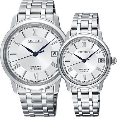 SEIKO精工 Presage 經典機械對錶(SRPC05J1+SRP857J1)-銀