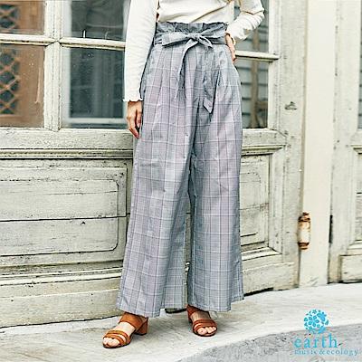 earth music  荷葉綁帶設計西裝格紋寬褲