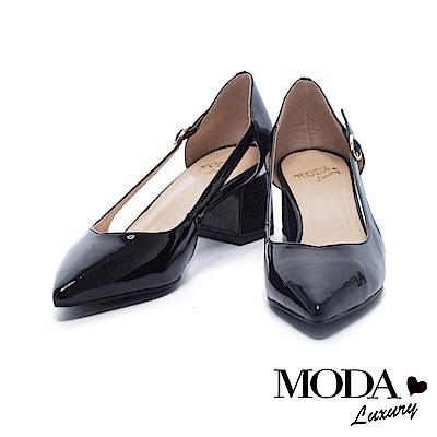 跟鞋 MODA Luxury 典雅亮面漆皮鏤空造型尖頭粗跟鞋-黑