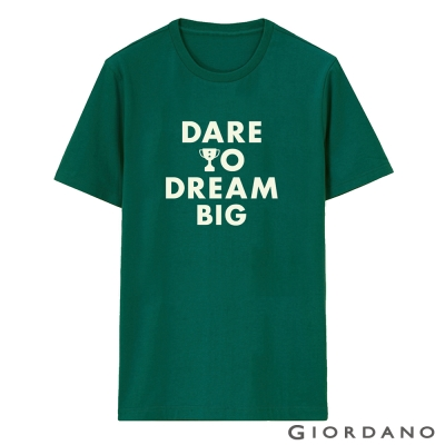 GIORDANO-男裝字母印花純棉修身短袖T恤-73-濕地綠色
