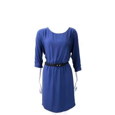 Michael Kors 寶藍色圓領絲質五分袖洋裝(附腰帶)