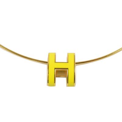 HERMES 經典H LOGO橢圓銀飾項鍊.金/黃