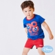 Disney-baby-米奇拚接格紋短褲-紅色
