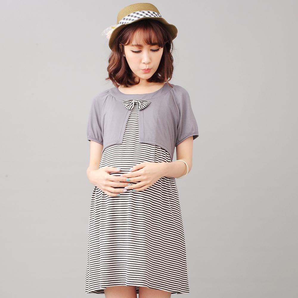 Keep Chic孕婦裝-細條紋拼接假兩件哺乳洋裝(共二色)
