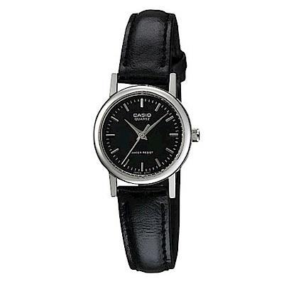 CASIO 時尚典雅淑女皮帶腕錶(LTP-1095E-1A)-丁字黑面/23mm