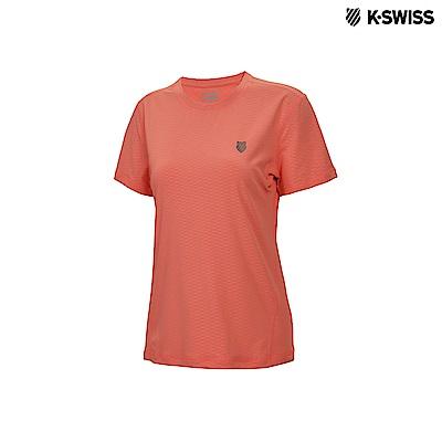 K-Swiss Emboss Poly Tech T運動排汗T恤-女-橘