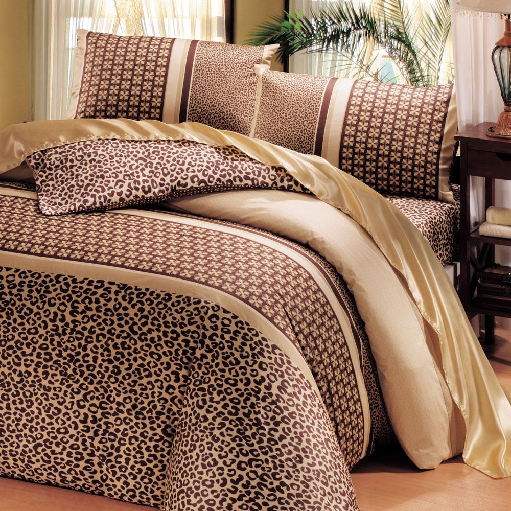鴻宇HongYew 300織精梳棉-曼徹斯特 咖-雙人七件式兩用被床罩組