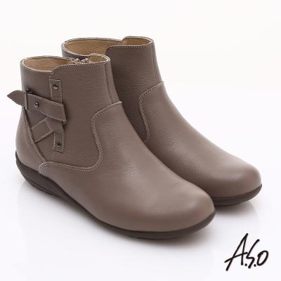 A.S.O 都會休閒 柔軟真皮側邊拉鏈奈米短靴 淺灰