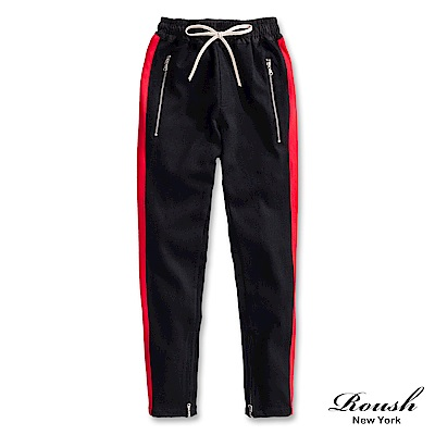 ROUSH 單條配色拉鍊設計重磅棉褲 (3色)