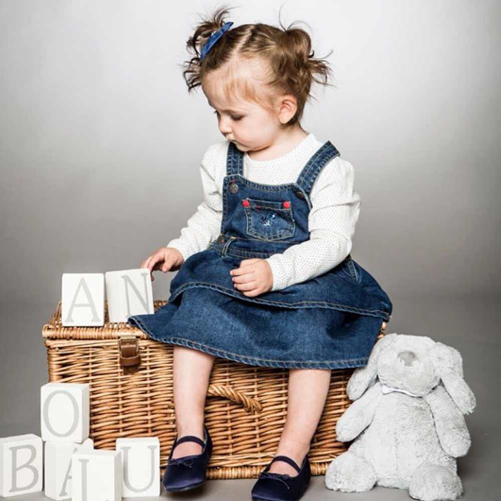 Minoti 英國 白底黑點牛仔裙長袖上衣牛仔蛋糕吊帶裙套裝2件組