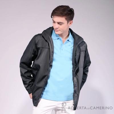 ROBERTA諾貝達 台灣製 可拆收帽 禦寒內刷毛夾克外套 灰黑