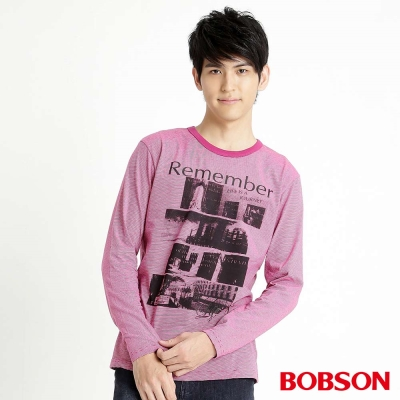 BOBSON 男款條紋長袖上衣(桃紅15)
