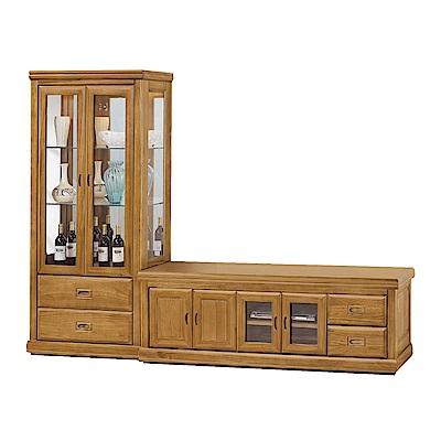 品家居 瑞亞8.6尺實木L型電視櫃組合(長櫃+展示櫃)-259x48x181.7cm免組