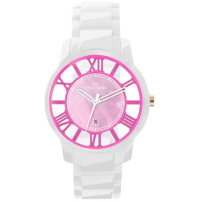 Max Max 巴塞隆納浪漫風情陶瓷腕錶-粉紅X白/39mm