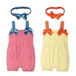 baby童衣 經典條紋吊帶燈籠連身衣 附髮帶 60203
