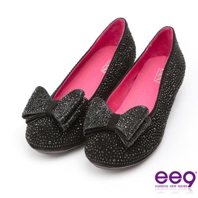 ee9璀璨迷人~名媛專屬耀眼奪目鑲嵌晶鑽蝴蝶結包鞋*黑色