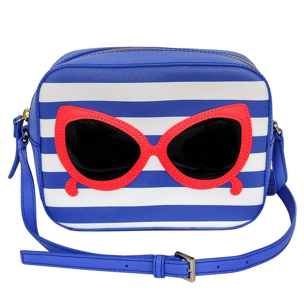 kate spade 藍白條紋大墨鏡貼飾斜背小方包