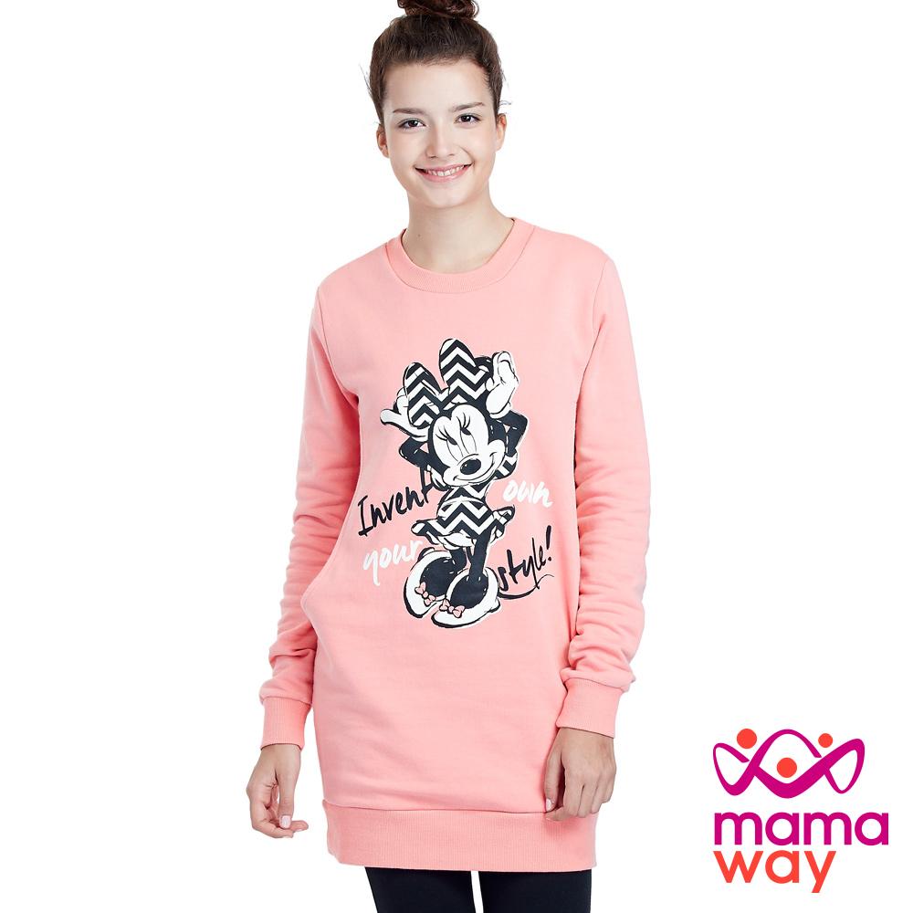 Mamaway 迪士尼小潮米妮刷毛長版孕婦裝.哺乳衣