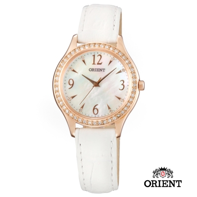 ORIENT 東方錶 DRESS系列 時尚晶亮珍珠貝女錶-白x玫瑰金/30.3mm