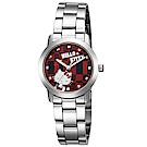HELLO KITTY 凱蒂貓繽紛格紋造型手錶 紅/30mm