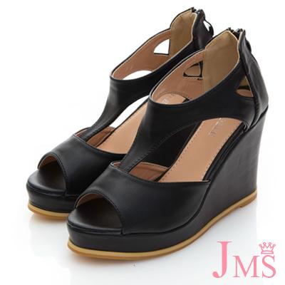 JMS-俏麗時尚T字魚口楔型涼鞋-黑色