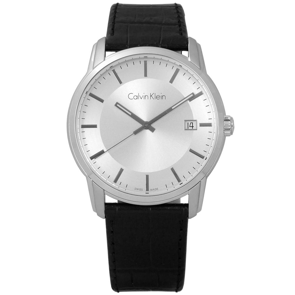 CK  典藏品味日期皮革手錶-銀x黑/41mm