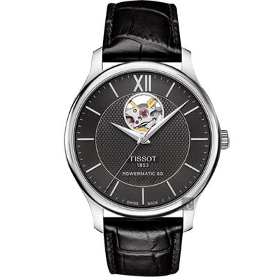 TISSOT 天梭 Tradition 80小時動力鏤空機械皮帶腕錶-黑/40mm T0639071605800
