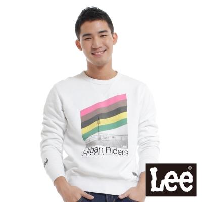 Lee-長袖T恤-印刷絨毛內裡-男款-白-LL11