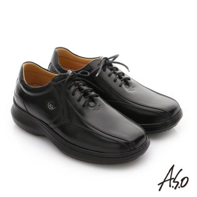 A.S.O 奈米健康氣墊 油感牛皮綁帶紳士休閒皮鞋 黑色