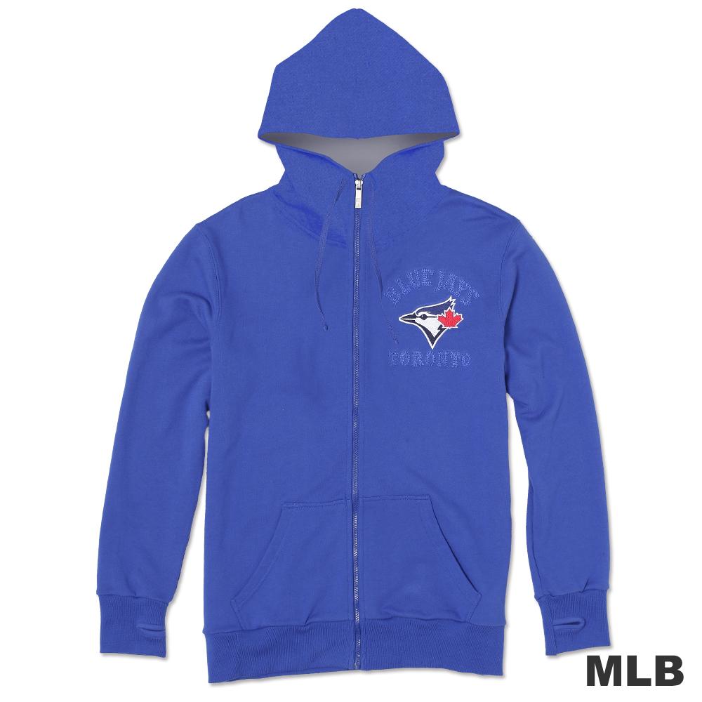 MLB-多倫多藍鳥隊連帽繡印花厚外套-藍(男)